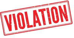 Violation red rubber stamp on white - stock illustration
