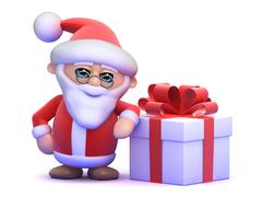3d render of Santa Claus next to a Christmas present - stock illustration