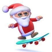 3d render of Santa Claus on a skateboard - stock illustration