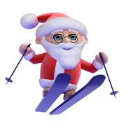 3d render of Santa Claus flying through the air on his skis Stock Illustration