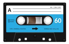 Vintage cassette tape - stock illustration