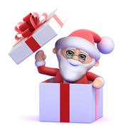 3d render of Santa Claus appearing from inside a fancy box Stock Illustration