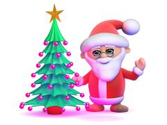 3d render of Santa Claus next to a Christmas tree - stock illustration