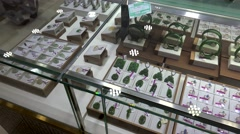 Showcase with the jade & semiprecious stone jewelry in the HongQiao Pearl Market Stock Footage