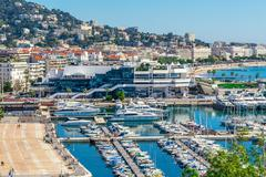Stock Photo of Panoramic view of Cannes, Promenade de la Croisette, the Croisette and Port L