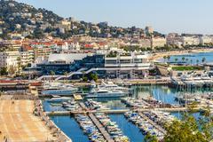 Panoramic view of Cannes, Promenade de la Croisette, the Croisette and Port L - stock photo