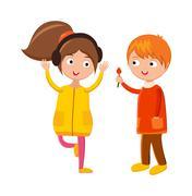 Little boy flower and girl headphones cute children waving hand cartoon - stock illustration