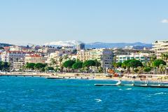 Panoramic view of Cannes, Promenade de la Croisette, the Croisette and Port L Stock Photos