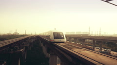 Shanghai Maglev approaching the station Stock Footage