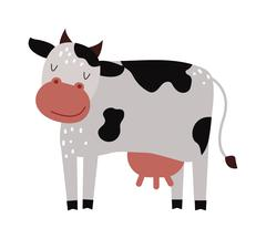Funny cartoon cow farm mammal animal vector - stock illustration