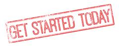 Get Started Today red rubber stamp on white - stock illustration