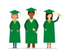 Happy graduation people uniform throwing caps vector - stock illustration