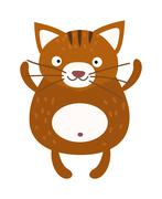 Cute furry cat sitting alone home animal vector - stock illustration