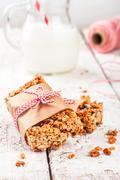 homemade protein granola bars - stock photo