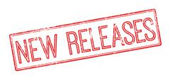 New Releases red rubber stamp on white - stock illustration