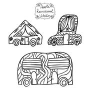 Doodle recreational vehicles Stock Illustration