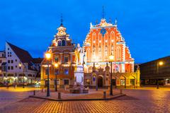 Evening scenery of the Old Town Hall Square in Riga, Latvia - stock photo