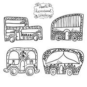 Doodle recreational vehicles Stock Illustration
