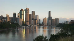 Sunrise view of brisbane from kangaroo point Stock Footage