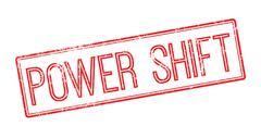 Power Shift red rubber stamp on white Stock Illustration
