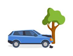 Accident road on street damaged automobiles after collision car crash vector - stock illustration