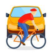 Sad running man at road death accident scene transport vector Stock Illustration