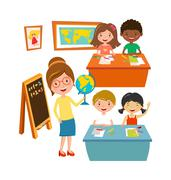 School kids education elementary school learning and people concept vector Stock Illustration