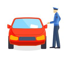 Policeman writing speeding ticket driver parking attendant traffic warden car - stock illustration