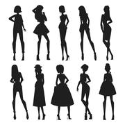 Fashion abstract vector girls looks black silhouette Stock Illustration