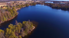 Landscape of lakes and farms as far as the eye can see - stock footage