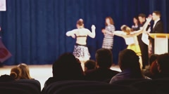 ballroom dancing spectators watching concert people sitting in hall - stock footage