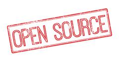 Open Source red rubber stamp on white Stock Illustration