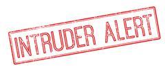 Intruder Alert red rubber stamp on white - stock illustration