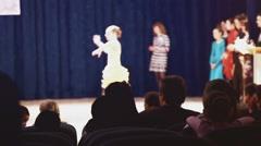 ballroom dancing spectators watching people sitting in hall - stock footage