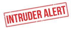 Intruder Alert red rubber stamp on white Stock Illustration