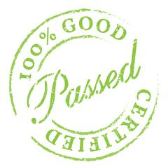 Passed. Green rubber stamp on white Stock Illustration