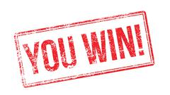 You win! red rubber stamp on white Stock Illustration