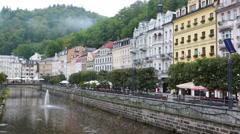 Karlovy Vary  Carlsbad, Tepla river.  Czech Republic Stock Footage