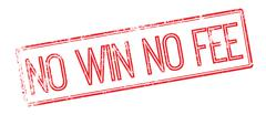 No Win No Fee red rubber stamp on white Stock Illustration