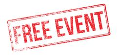 Free event red rubber stamp on white - stock illustration