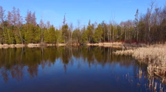Gliding into wilderness scene reflected in crystal clear lake Stock Footage