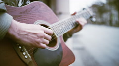 A man plays guitar on the street in Saint-Petersburg,Russia Stock Footage