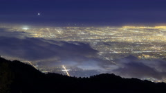 Time Lapse of Foggy LA City Lights Aerial View  Stock Footage