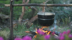 Pot on the fire in wild - stock footage