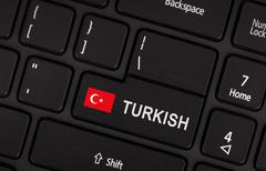 Enter button with flag Turkey - Concept of language - stock photo