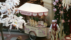 """Ice cream mobile car """"Bosco cafe""""  in the shopping centre in Moscow. Stock Footage"""