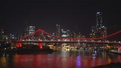 Panning shot of brisbane's story bridge at night Stock Footage