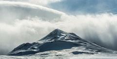 Iceland, Akureyi Mountain Clouds Stock Footage