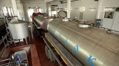Factory for production of dairy products. Empty milk tanker. Stock Footage