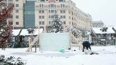 Epiphany in Russia - ice bath in the center of Moscow, Stock Footage